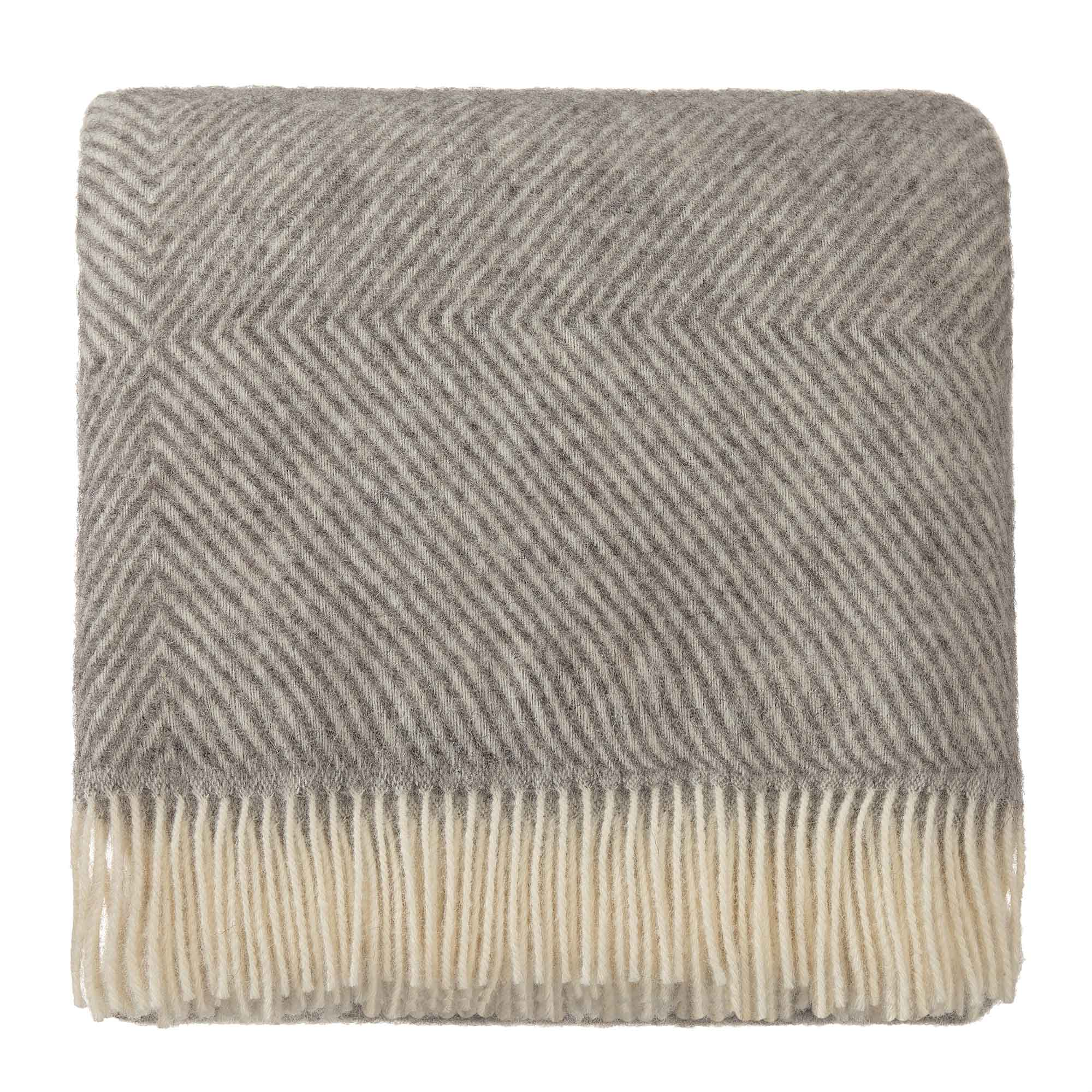 Gotland blanket, grey & cream, 100% new wool