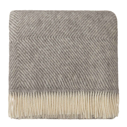 Gotland Wool Blanket grey & cream, 100% new wool