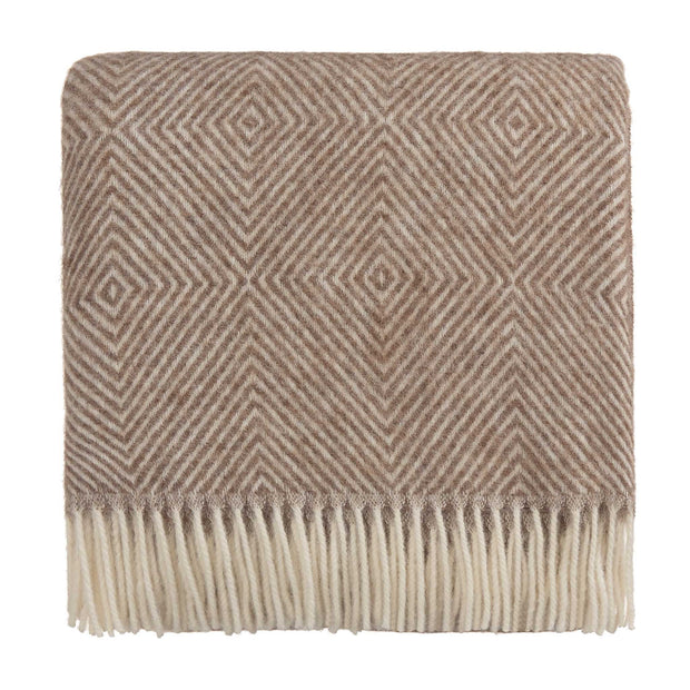 Gotland Dia Wool Blanket light brown & cream, 100% new wool