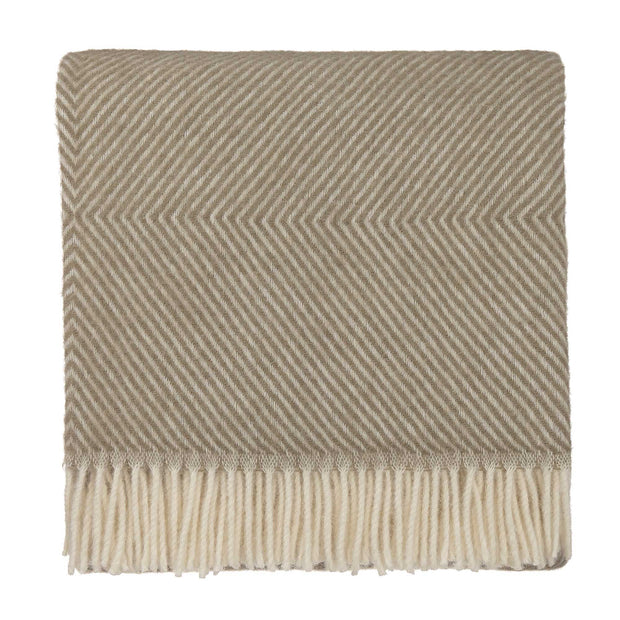 Gotland Blanket olive green & off-white, 100% new wool