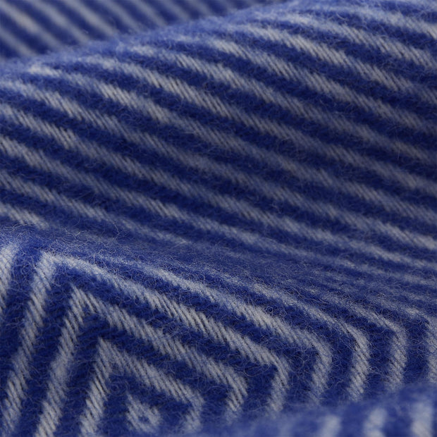 Gotland Wool Blanket ultramarine & cream, 100% new wool | URBANARA wool blankets