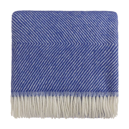 Gotland Wool Blanket ultramarine & cream, 100% new wool