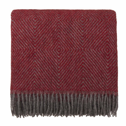 Gotland Dia Wool Blanket red & grey, 100% new wool