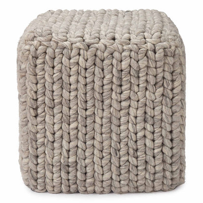 Jadao pouf, light grey melange, 100% wool