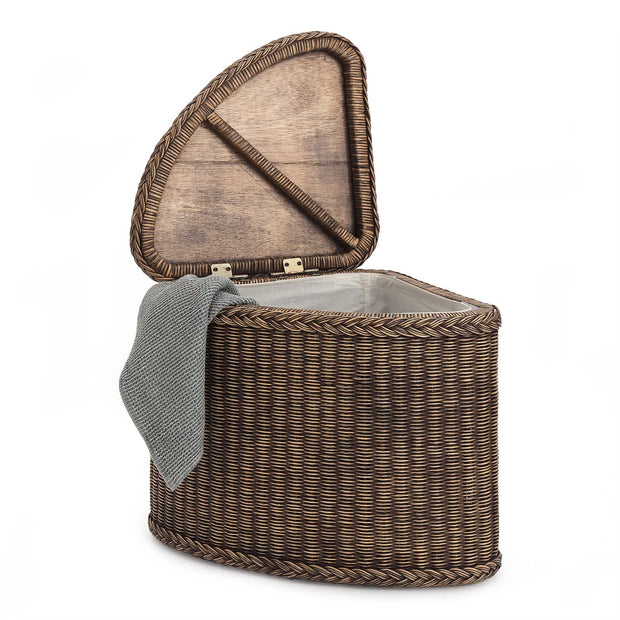 Java Laundry Basket dark brown, 100% rattan | URBANARA laundry baskets