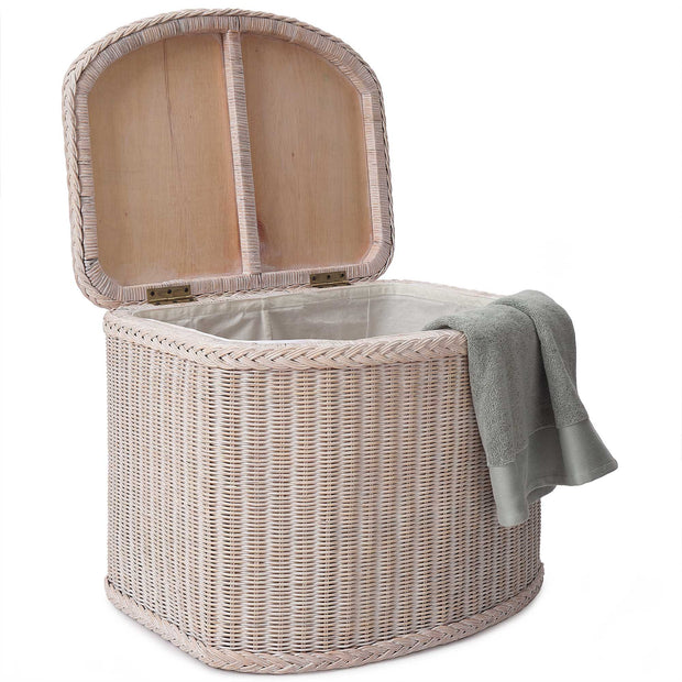 Java Laundry Basket chalk white, 100% rattan | URBANARA laundry baskets