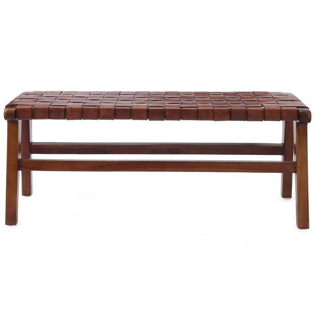 Kamaru bench, cognac, 100% leather & 100% teak wood | URBANARA small furniture