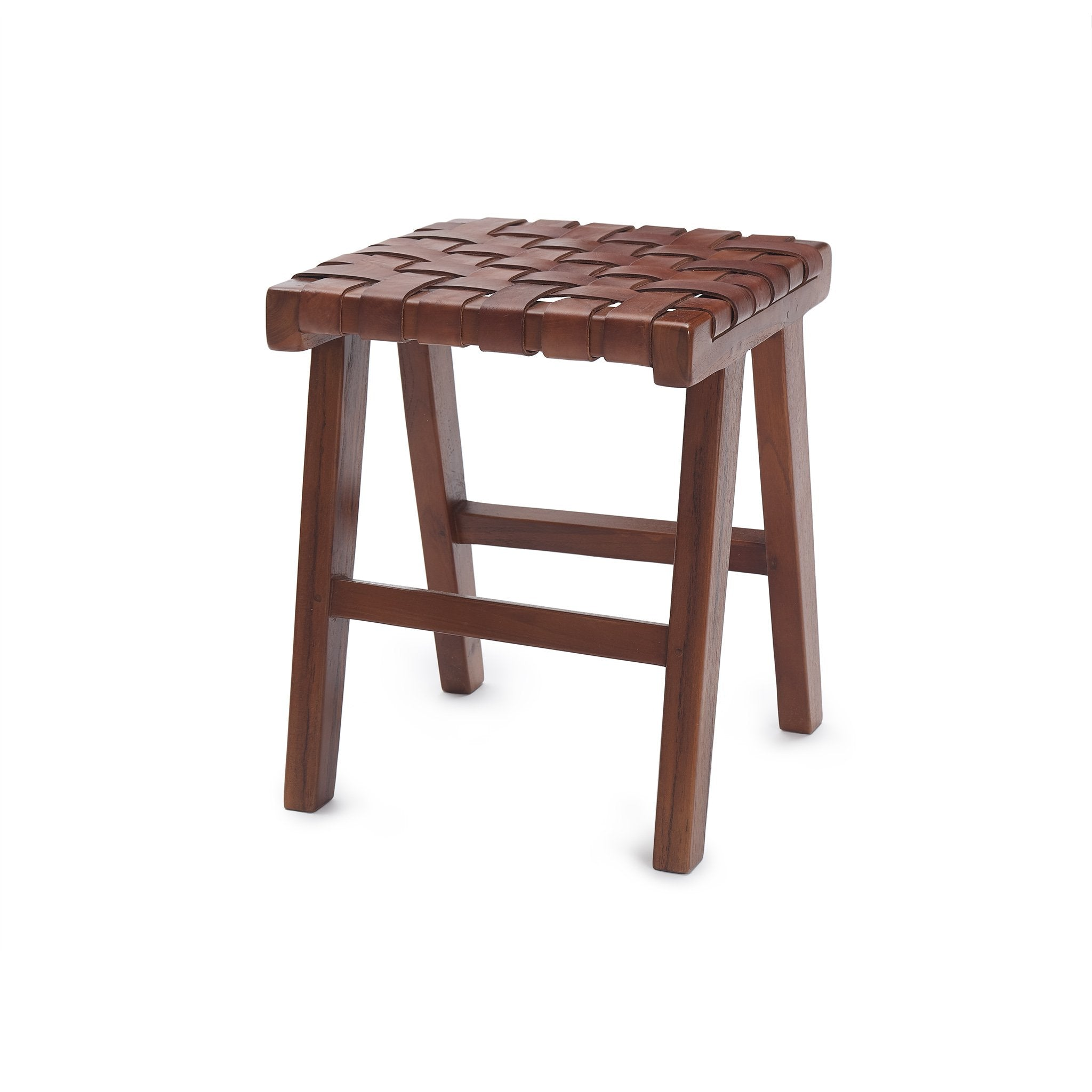 Kamaru Stool cognac, 100% leather & 100% teak wood