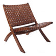 Kamaru chair, cognac, 100% leather & 100% teak wood