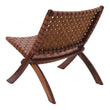 Kamaru chair, cognac, 100% leather & 100% teak wood | URBANARA small furniture
