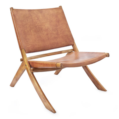Kamaru Leather Chair [Light Cognac]