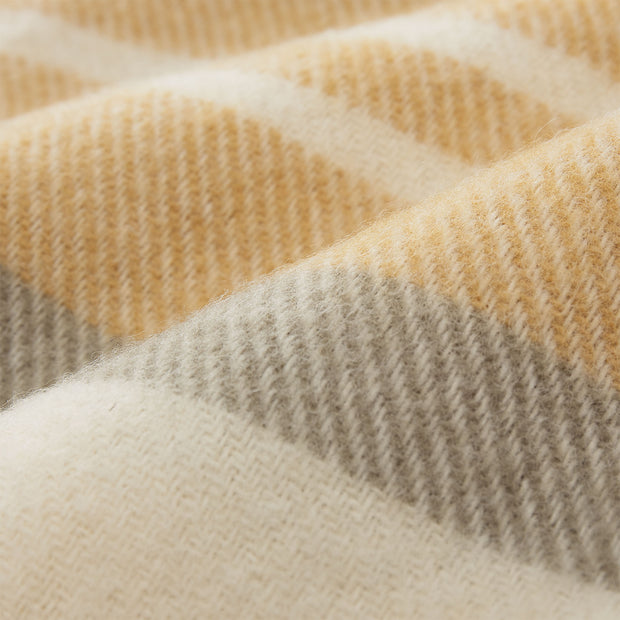 Kampai Blanket mustard & olive green & off-white, 100% new wool | High quality homewares