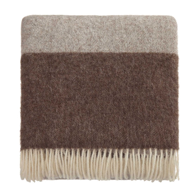 Karby Wool Blanket cream & brown, 100% new wool