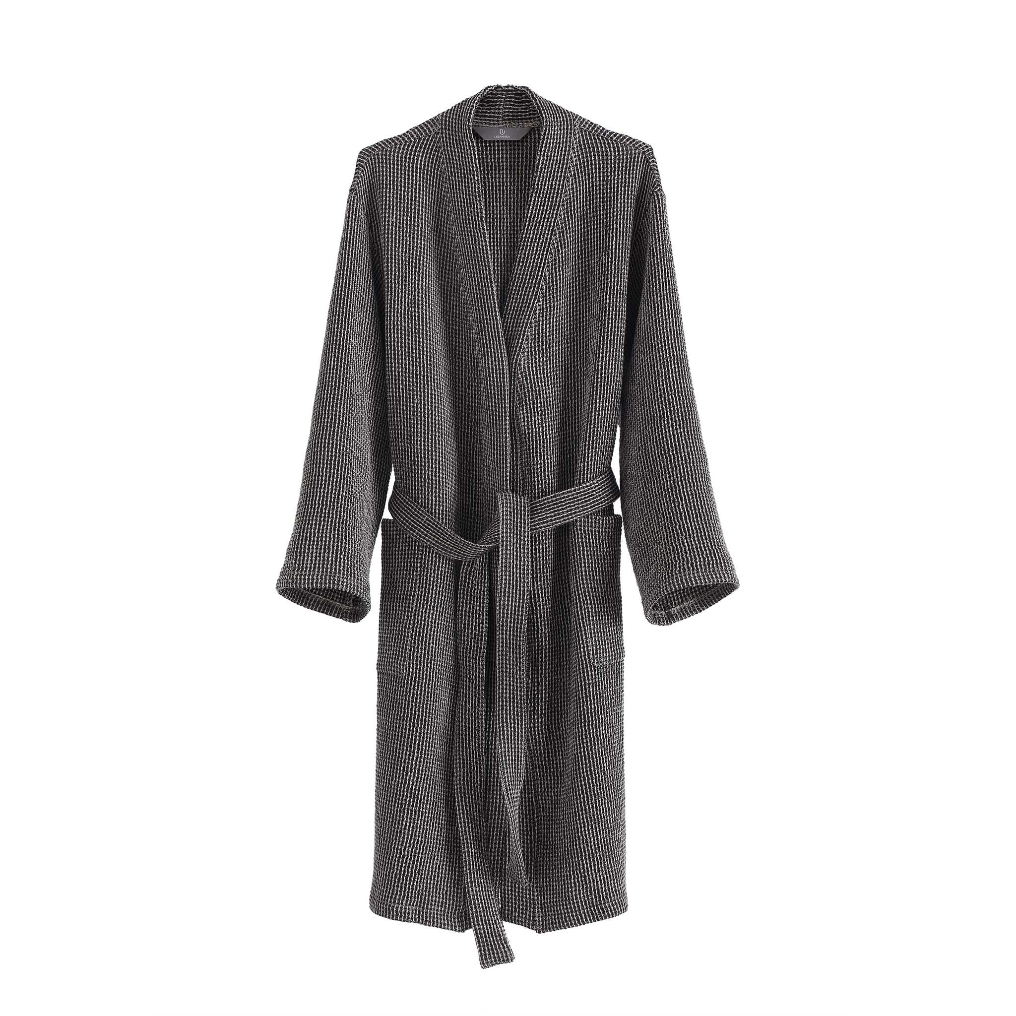 Kotra Bathrobe black & beige, 50% linen & 50% cotton