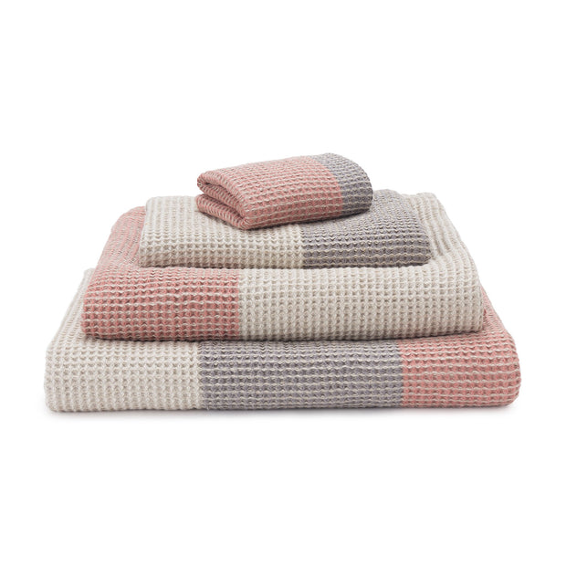 Kotra Towel Collection dusty pink & natural & grey, 50% linen & 50% cotton