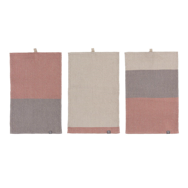 Kotra Towel Collection dusty pink & natural & grey, 50% linen & 50% cotton | URBANARA linen towels