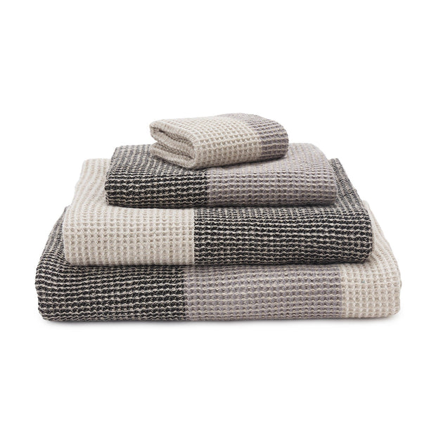 Kotra Towel Collection grey & natural & black, 50% linen & 50% cotton