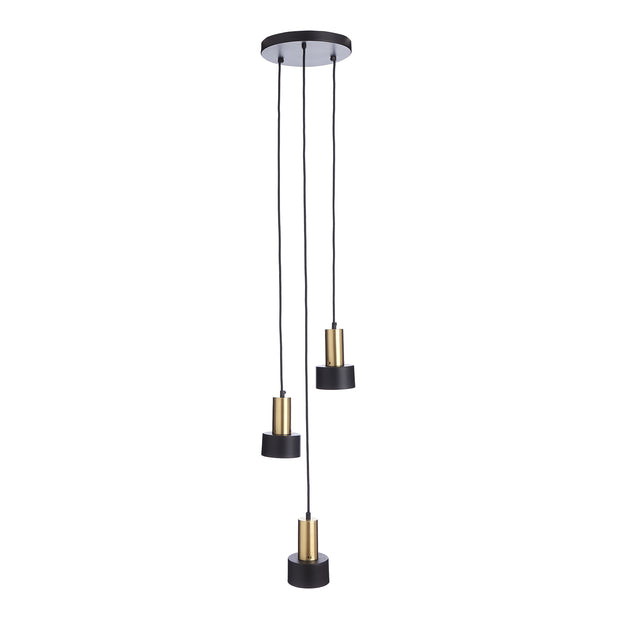 Kurchi pendant lamp, black & brass, 100% iron & 100% stainless steel