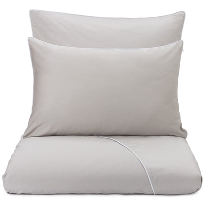 Lanton bed linen stone grey & white, 100% cotton