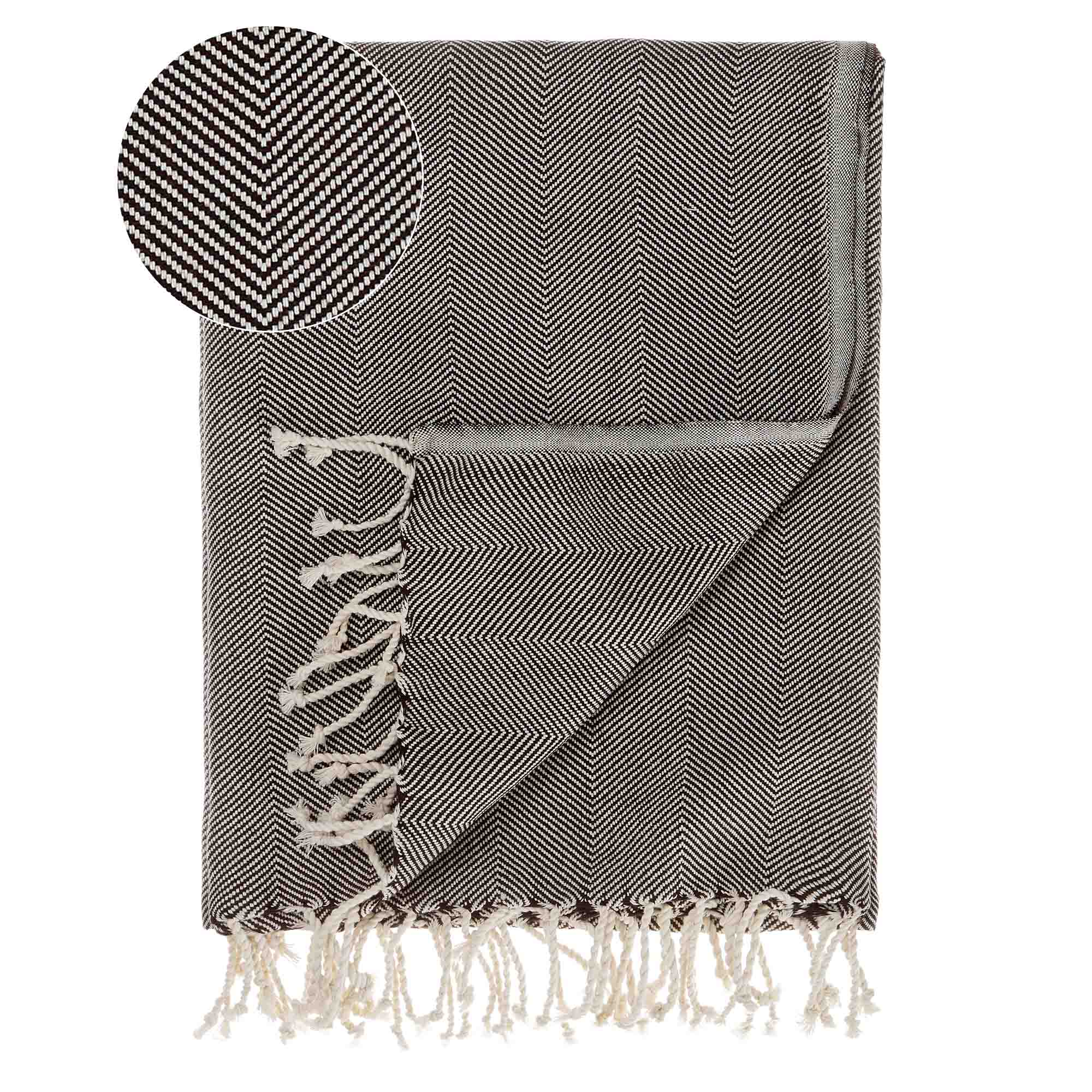 Laza Hammam Towel [Black/White]