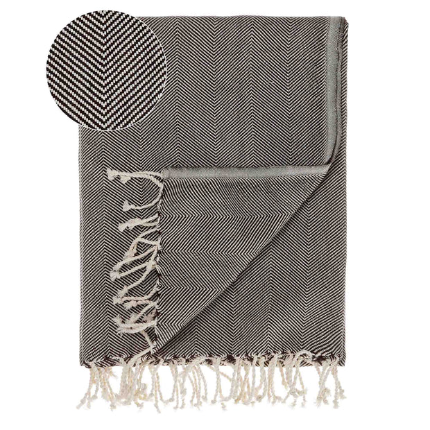 Laza Hammam Towel black & white, 100% cotton