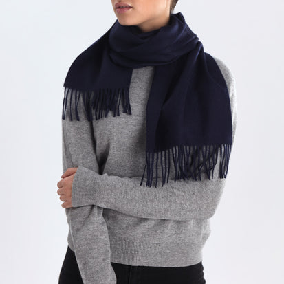 Limon scarf, midnight blue, 100% baby alpaca wool
