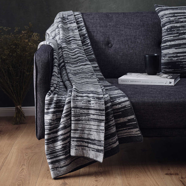 Loule Wool Blanket in dark grey & grey melange | Home & Living inspiration | URBANARA