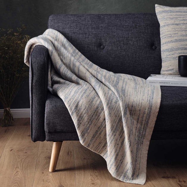 Loule Wool Blanket in natural & grey melange | Home & Living inspiration | URBANARA