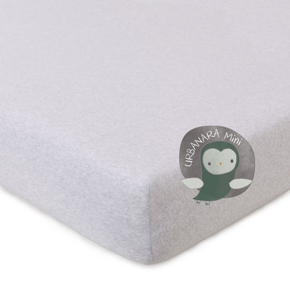 Louredi Mini Fitted Sheet light grey melange, 100% organic cotton