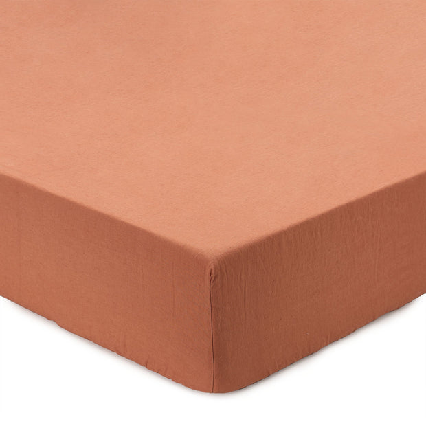 Mafalda Fitted Sheet terracotta, 100% linen