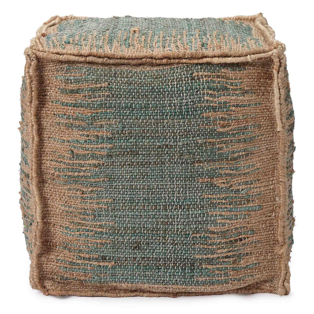 Majra pouf, natural & green grey, 80% jute & 20% cotton