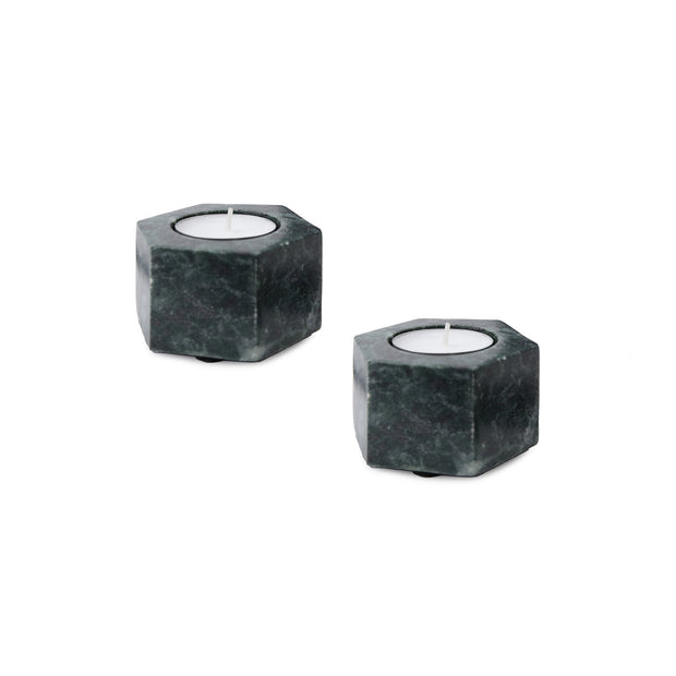 Nanda candle holder, green, 100% marble