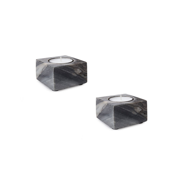 Nanda candle holder, black, 100% marble