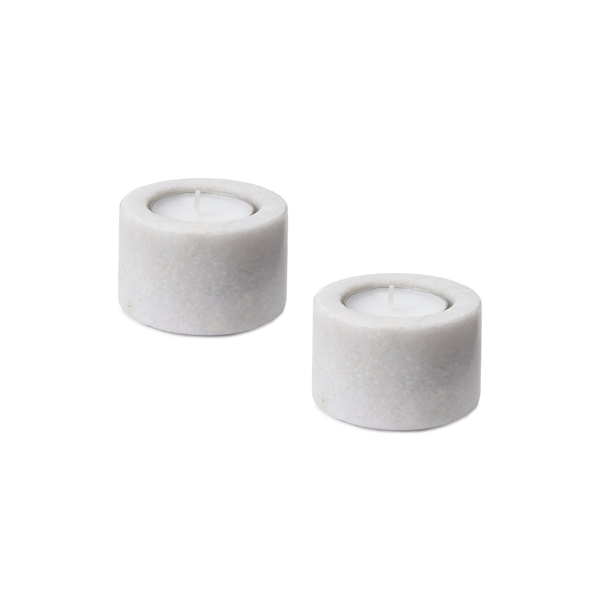 Nanda candle holder, white, 100% marble