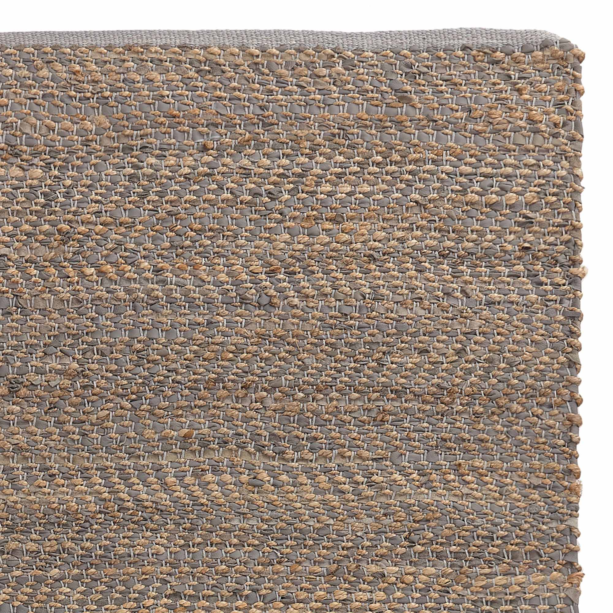 Nattika runner, grey & natural, 45% leather & 45% jute & 10% cotton