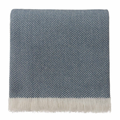 Nerva Blanket teal & cream, 100% cashmere wool