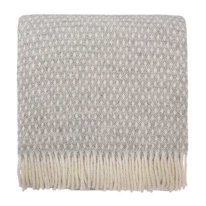 Osele Wool Blanket light grey melange & off-white, 100% lambswool