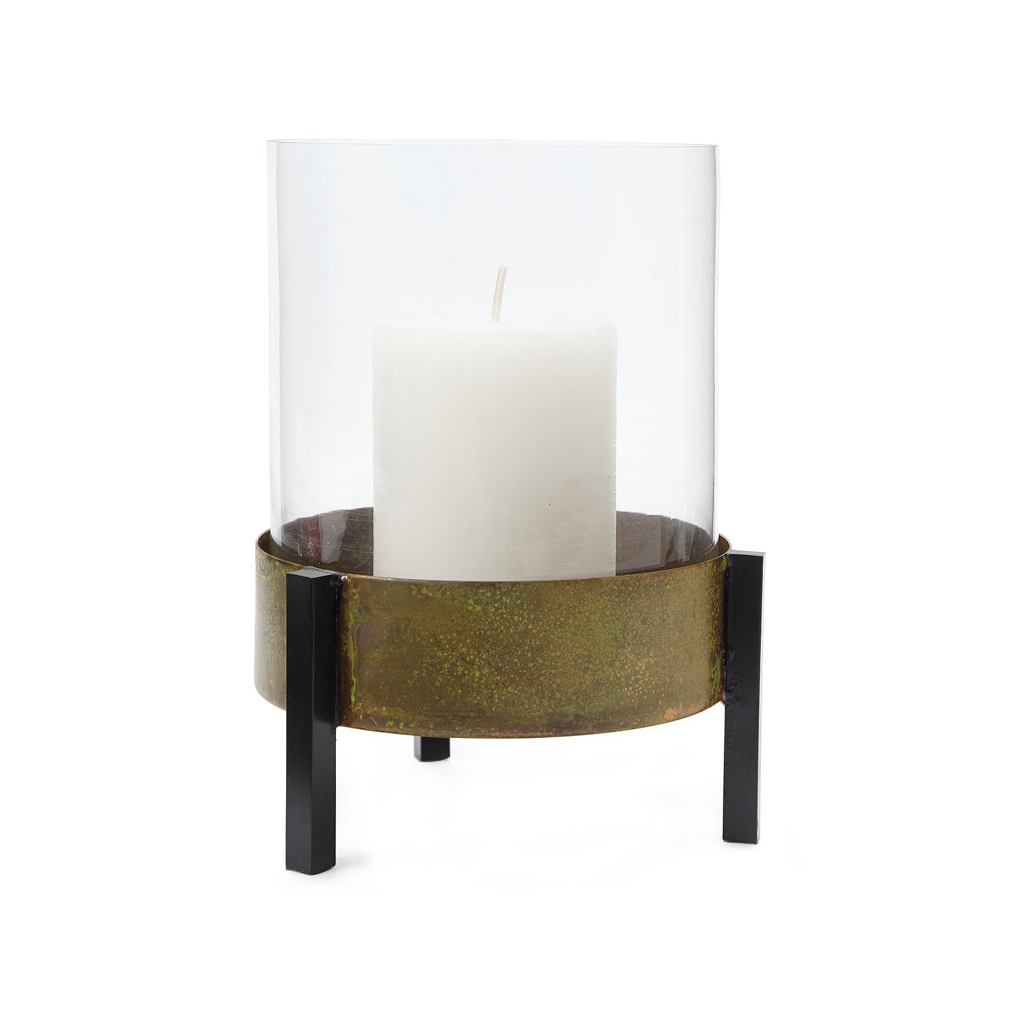 Ozar Windlight Candle Holder [Brass/Mustard/Black]