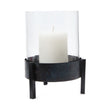 Ozar Windlight Candle Holder black, 100% glass & 100% metal