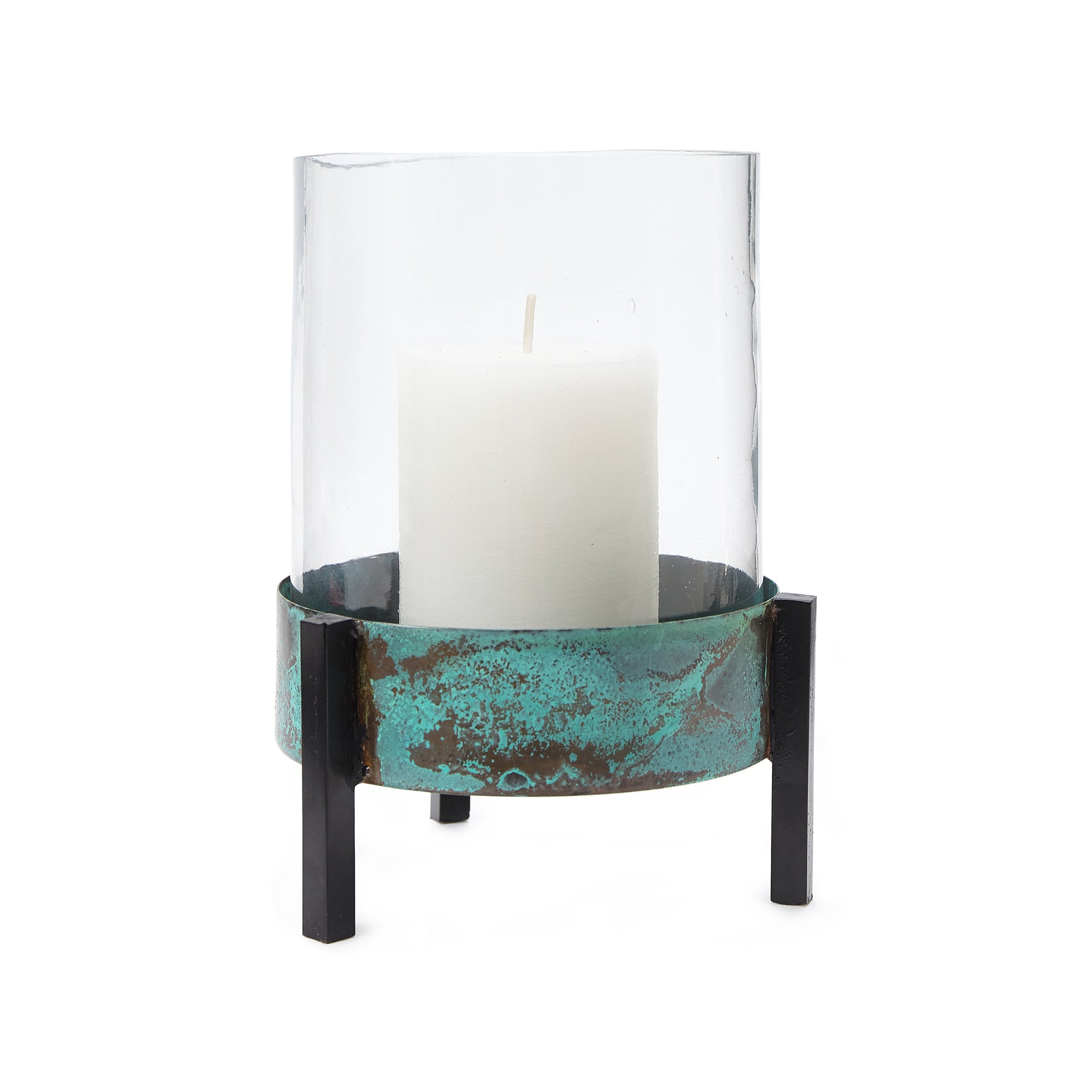 Ozar Windlight Candle Holder turquoise & black, 100% glass & 100% metal