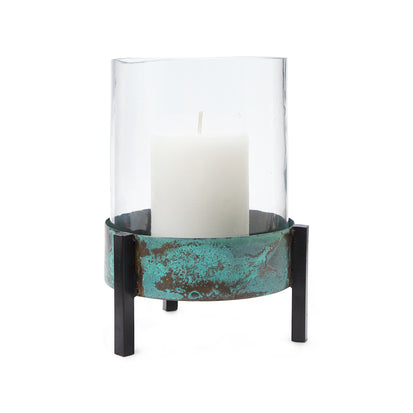 Ozar Windlight Candle Holder [Turquoise/Black]