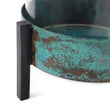 Ozar Windlight Candle Holder turquoise & black, 100% glass & 100% metal | URBANARA candles & scents