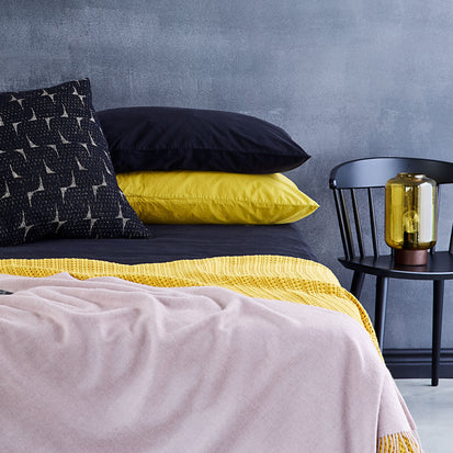 Perpignan Percale Bed Linen in mustard | Home & Living inspiration | URBANARA