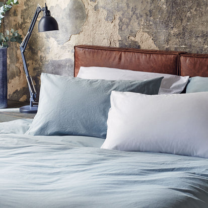 Perpignan Percale Bed Linen in green grey | Home & Living inspiration | URBANARA