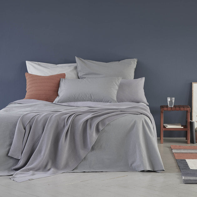 Perpignan Percale Bed Linen in pigeon blue | Home & Living inspiration | URBANARA