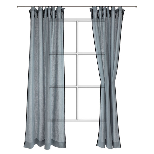 Rajula curtain, light green grey & black, 100% linen & 100% cotton