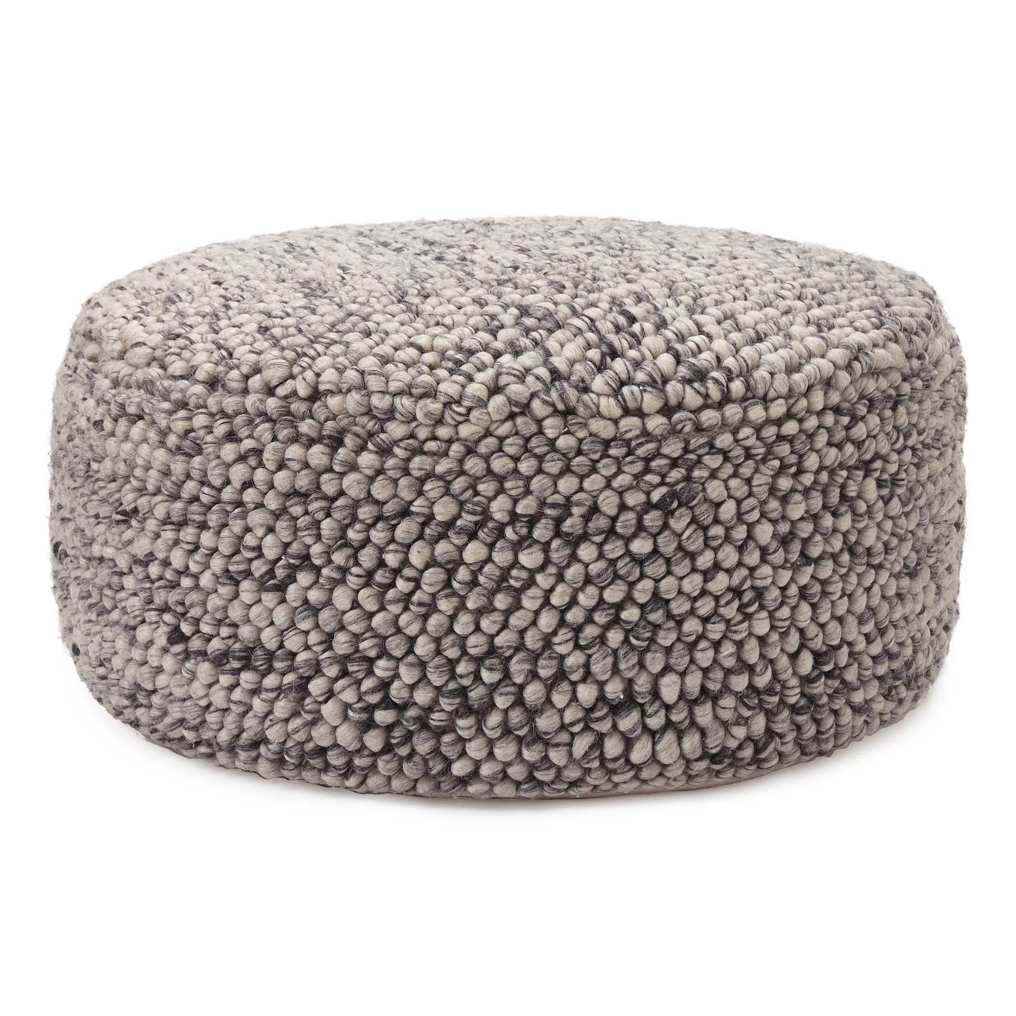 Ravi pouf, off-white & grey, 70% new wool & 30% viscose