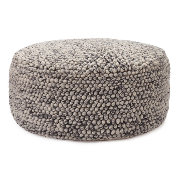 Wool Pouffe Ravi off-white & grey, 70% new wool & 30% viscose