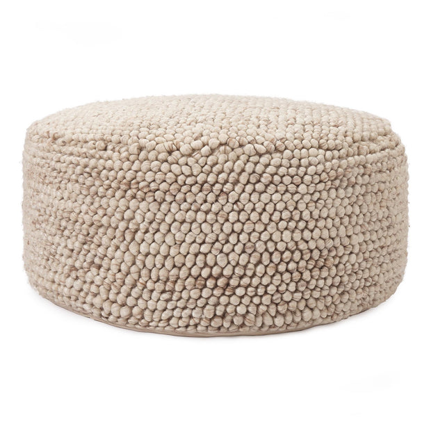 Ravi pouf, natural white, 70% new wool & 30% viscose