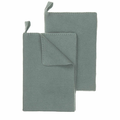 Safara Tea Towel Set green grey, 100% cotton